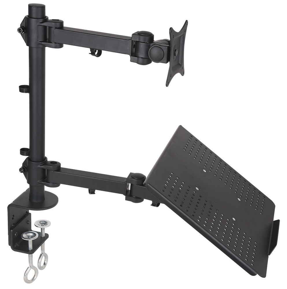 Laptop Lcd Monitor Desk Mount Stand Black Adjule Fits 1 Screen Upto 27 Model V002c
