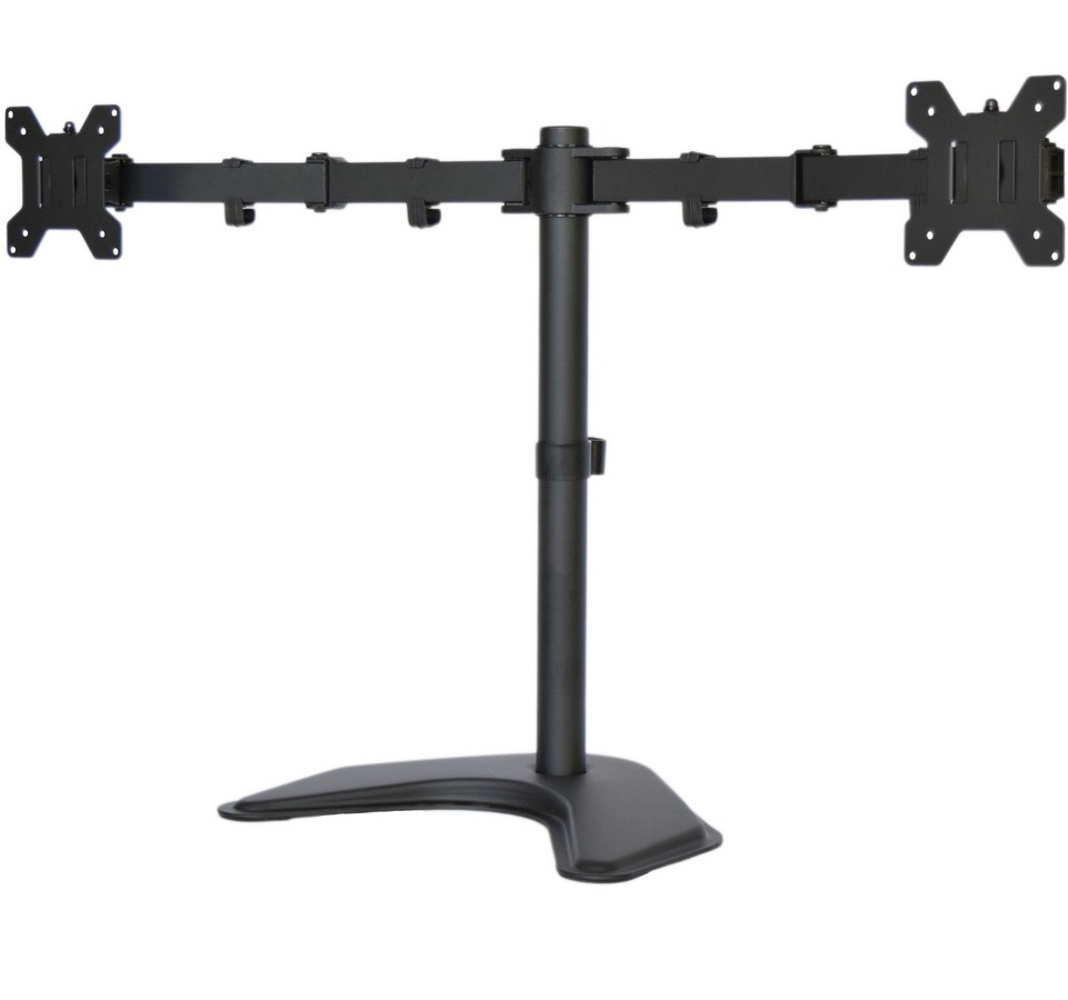 Dual Lcd Monitor Desk Stand Mount Free Standing Adjule 2 Screens Upto 27 Model V002f Upc 617401138838